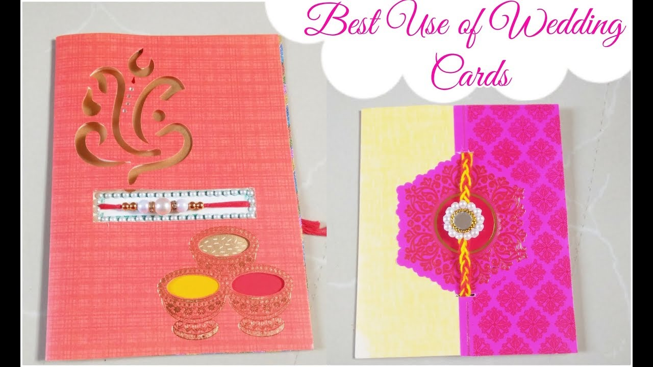 Best Use of Marriage/Wedding Cards/DIY Easy Rakhi Card for Brother ...