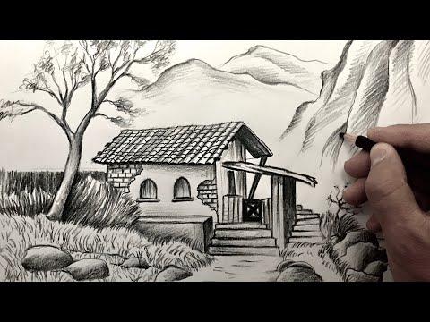 Karakalem Manzara Resmi Çizimi - Learn Easy Landscape Pencil Drawing