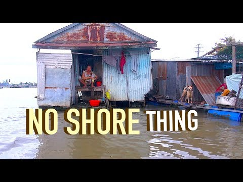 Tour inside a ghetto raft house. Vietnam.