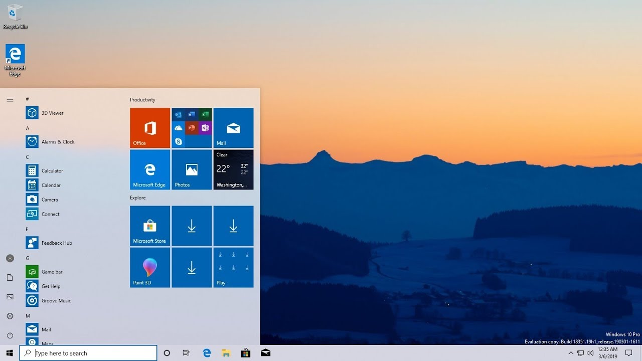 Installing Windows 10 19H1 Insider Preview Build 18351 Fast Ring