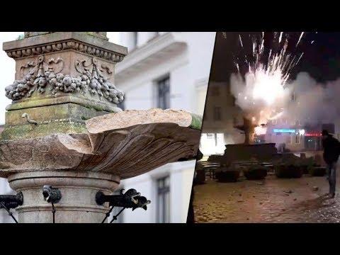 Polenböller zerlegt Borwin Brunnen in Güstrow | 100k € Schaden