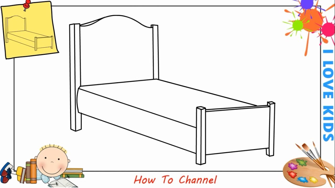 how to draw a bed easy step by step for kids beginners children youtube. Black Bedroom Furniture Sets. Home Design Ideas