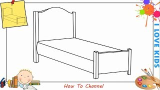 How to draw a bed EASY step by step for kids, beginners, children