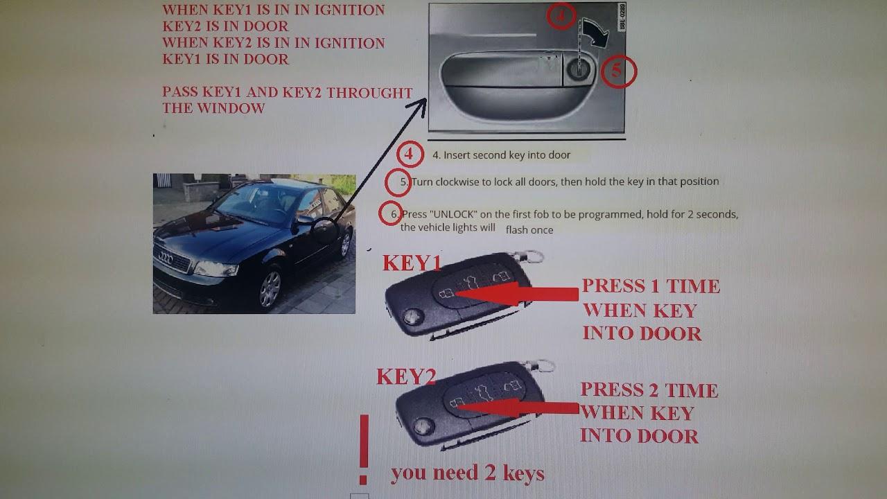 How To Program A Key Remote Fob Audi A4 2004 A4 2005 A3 A5 Q5 Q7 Rs4 S Line A6 A8 A2 A1 Tt Youtube