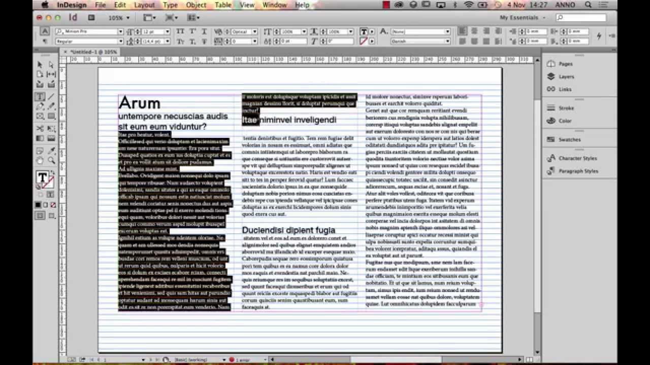 Columns and baseline grid InDesign