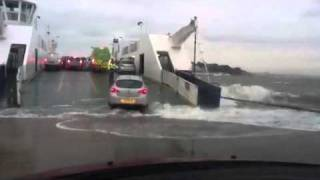 Sandbanks Chain Ferry in stormy conditions
