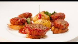 Биточки из куриных желудков с острым картофелем | Птица. От филе до фарша