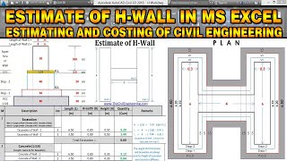 Estimate of H Wall with MS Excel | Quantity Surveying and Estimation | Civil Engineering