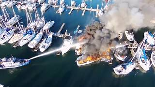 FIRE BOAT BURNING IN THE PORT