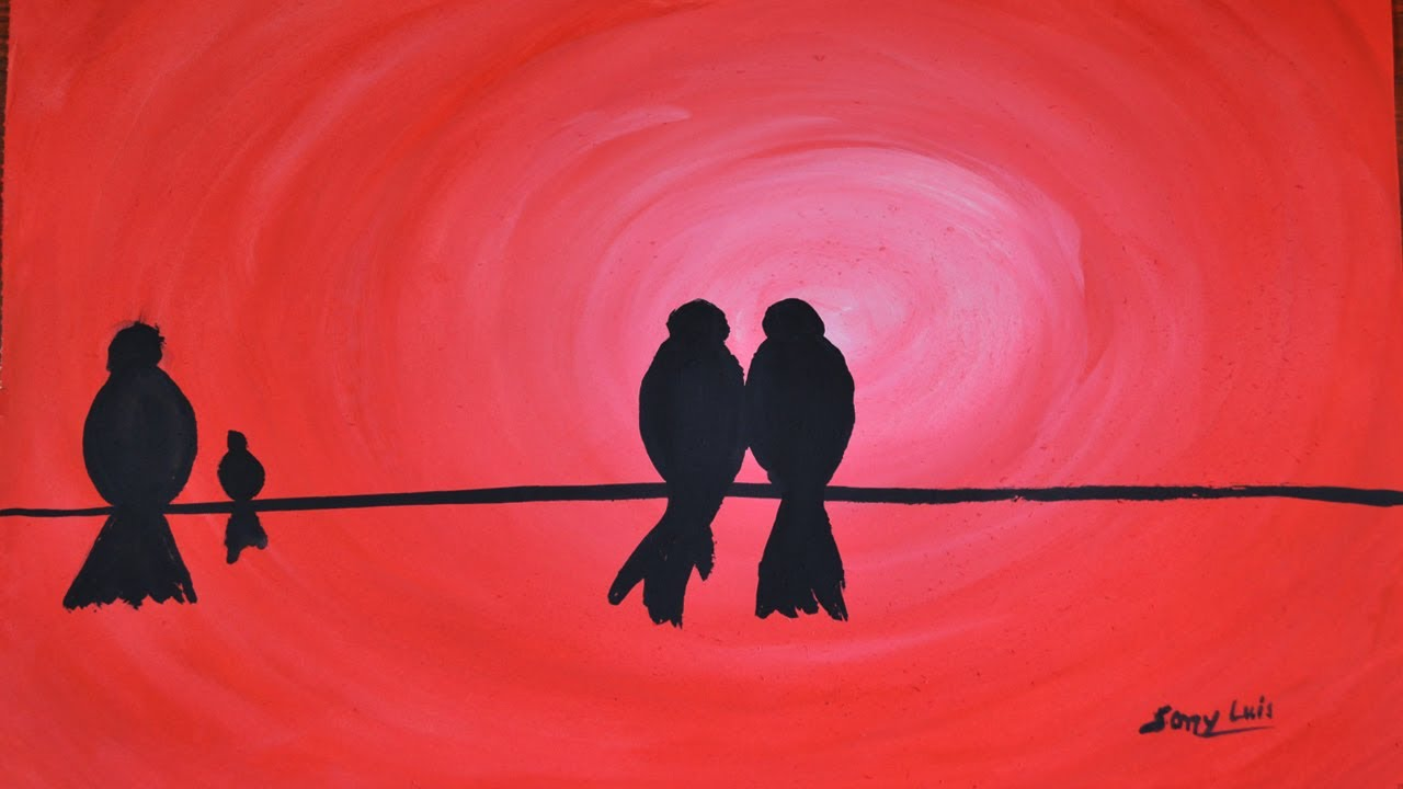 Painting A Love Birds Simple And Easy Silhouette Poster Color