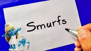 SMURFS - HOW TO TURN WORDS SMURFS INTO CARTOON - Theakashcreations