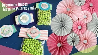 Decorando Chocolates, dulces y decorando con Pompones y Rosetones 🍭 Baby Shower
