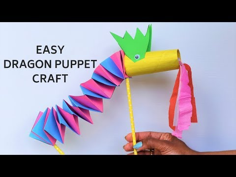 Easy paper dragon craft with accordion folds| Chinese New year craft ideas for kids|Puppet craft