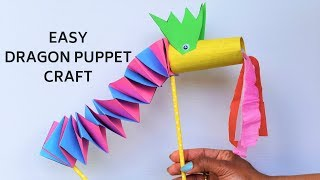 Easy paper dragon craft with accordion folds  Chinese New year craft ideas for kids Puppet craft