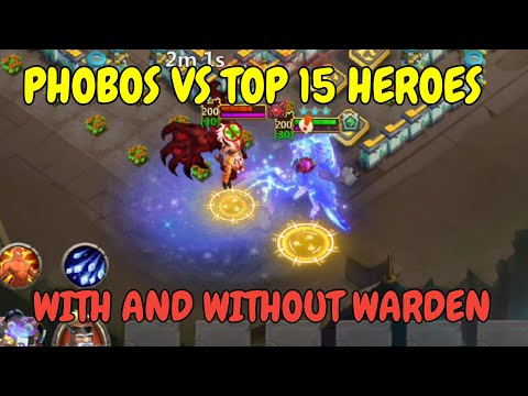 Phobos VS TOP15 Heroes L With And Without Warden L Castle Clash