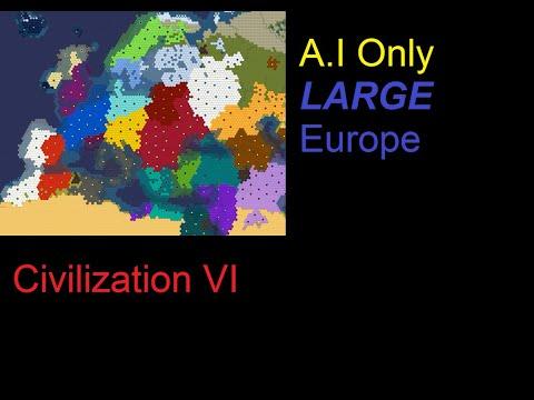 Civilization 6 30 Civ A.I Only Large Europe TSL Time Lapse.
