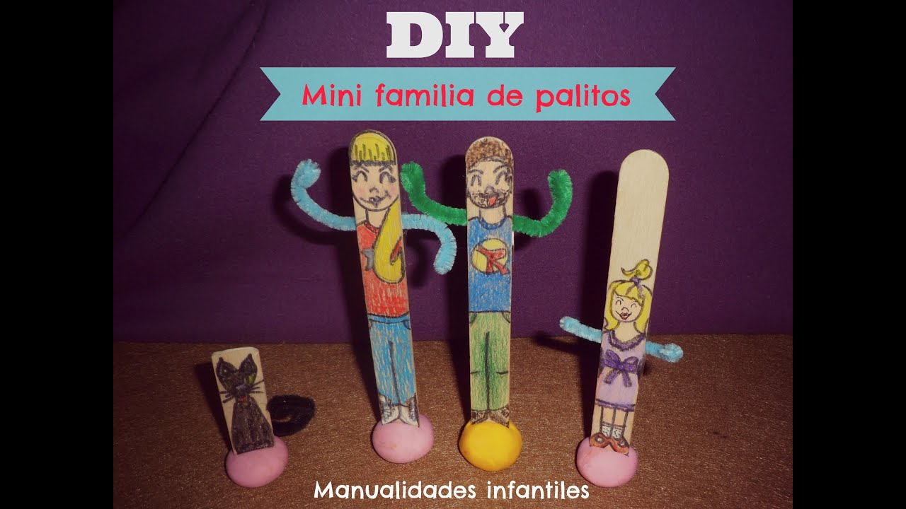 Manualidades infantiles juguete diy mini familia de - Manualidades en familia ...