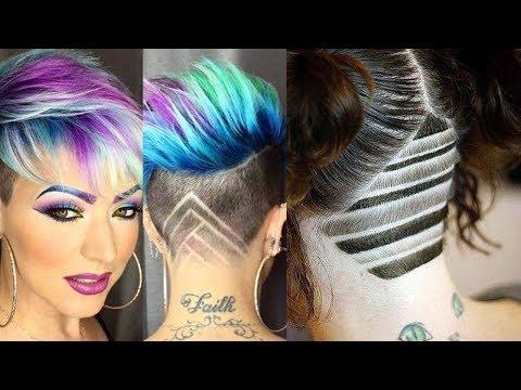 HAIR TATTOO FOR GIRLS 2018 - UNDERCUT HAIRSTYLES ★Shave Hair Nape★ BACK UNDERCUT DESIGN