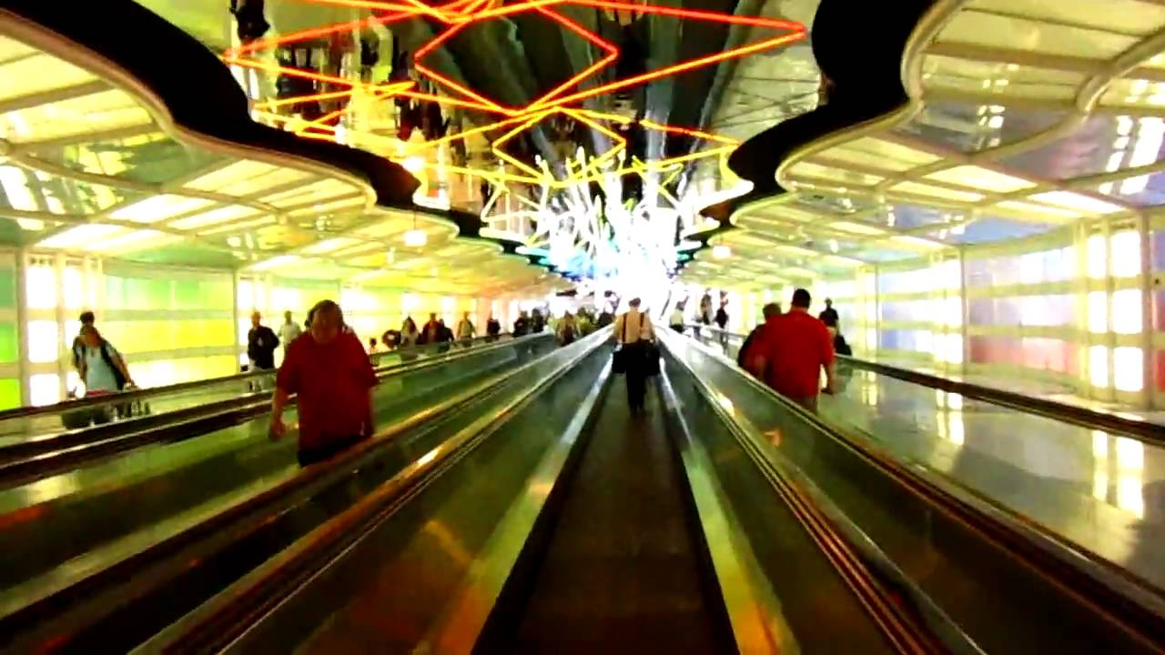 Neon Light Tunnel At Chicago O Hare International Airport