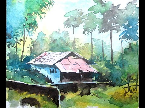 Watercolor Painting For Beginners Village Forest House Scenery Tutorial