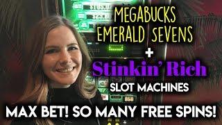 Trying to get STINKIN RICH on MEGABUCKS Slot Machine! Max Bet BONUSES!!!
