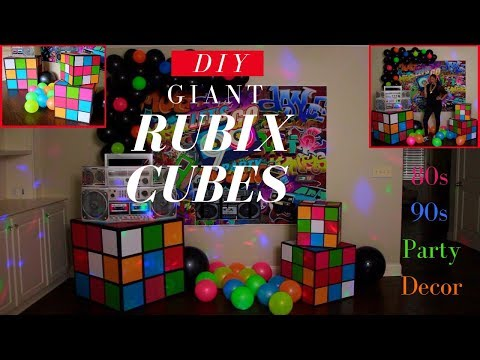 80s & 90s Party Decorations | DIY Giant Rubix Cubes | Dollar Tree DIY Party Decor
