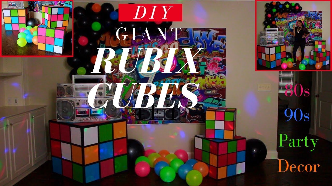 80s & 90s Party Decorations   DIY Giant Rubix Cubes   Dollar Tree DIY Party  Decor