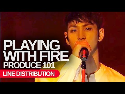 PRODUCE 101 - Playing with Fire : Line Distribution (Color Coded)