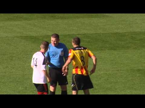 Player gets shoved and headbutts referee John Beaton