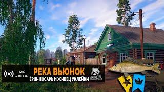 Русская Рыбалка 4 Стрим Рыбалка на реке Вьюнок Ловим живца Уклейки и трофейного Ерша Носаря