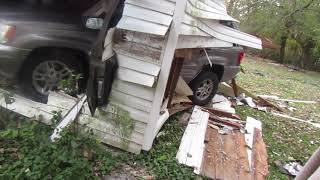 Car Goes Through A Garage