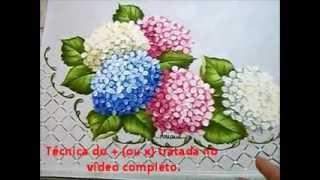 Pintando folhas de hortensia