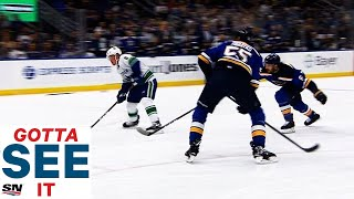 GOTTA SEE IT: Brock Boeser Lights Up Blues For Hat Trick