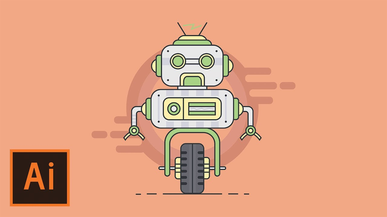 Vector funny robot adobe illustrator tutorial. How to create robot.