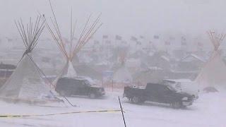 Raw: Snow, Wind Hit Dakota Pipeline Protest Site