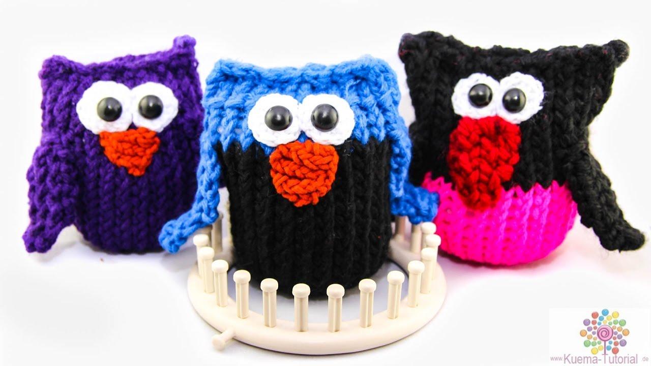 Knitting Loom - Strickring Eulen - YouTube