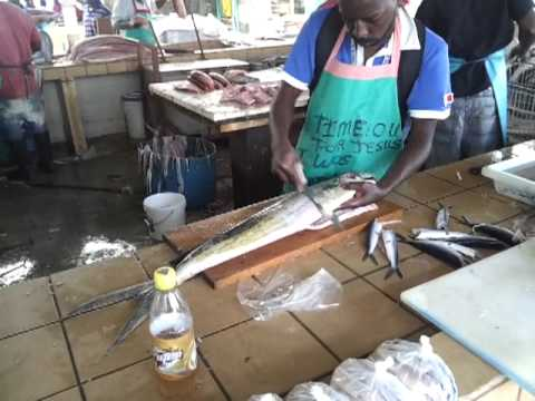 Preparing flying fish at Barbados UWI assignment