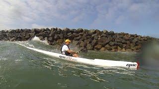 Surfing Oceanside breakwater Epic V10 Sport and Fenn LS surfski
