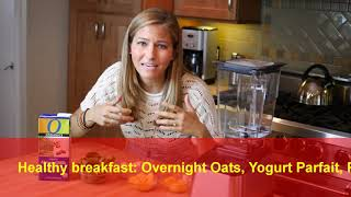 Healthy breakfast Overnight Oats with Yogurt Parfait, Pineapple Vanilla Spinach
