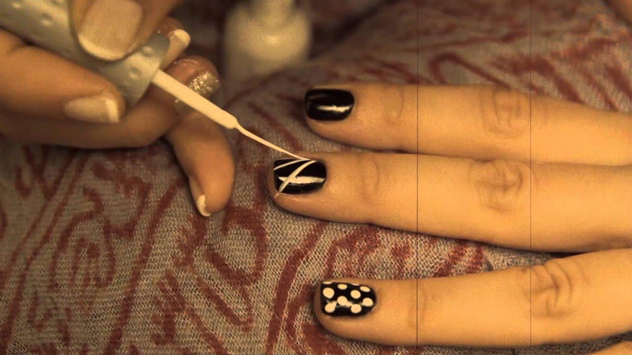 Nail art tutorial black and white, rock n roll, skull, dots, stripes ...