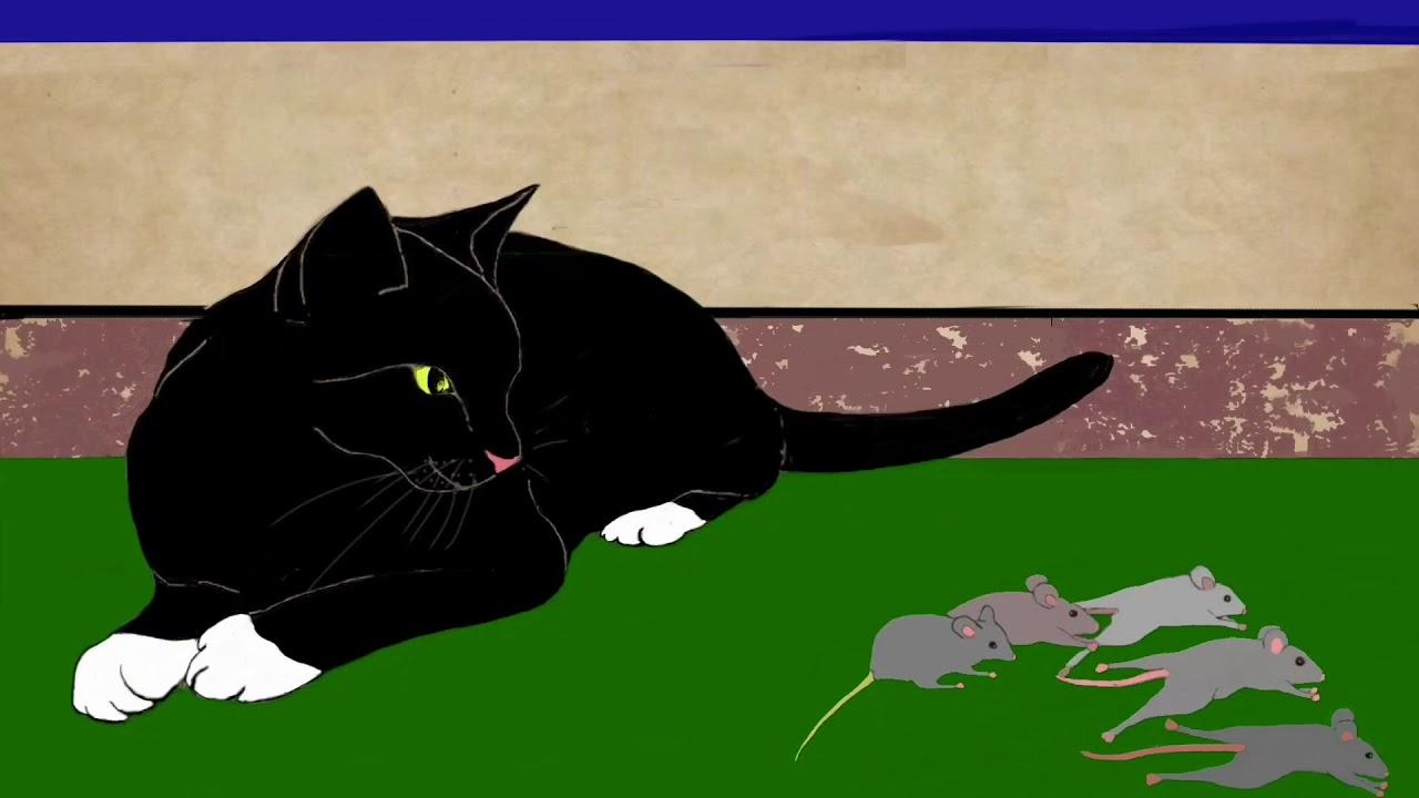 Børnesange, kattesang og video for børn til ebogen: katten der leger med mus