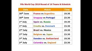 Fifa World Cup 2018 Round of 16 Teams & Schedule