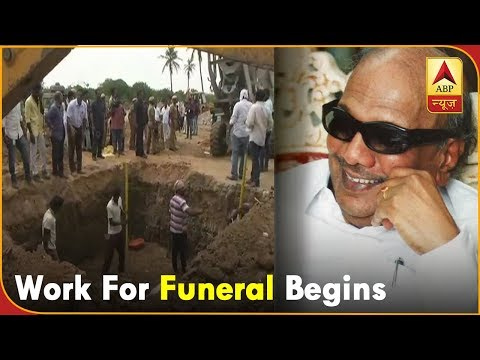 Karunanidhi Funeral Video: Bulldozers reach Marina Beach, Work for Funeral Begins |