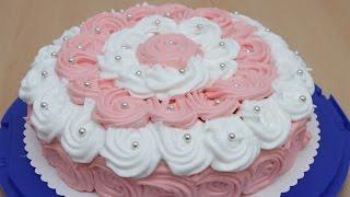Торт с белковым заварным кремом / Бисквитный торт / Украшение тортов(Торт с белковым заварным кремом ИНГРЕДИЕНТЫ: КРЕМ: 200 мл. сливок взбить миксером с 1 ст. л. сахара до густой..., 2015-12-04T10:30:29.000Z)