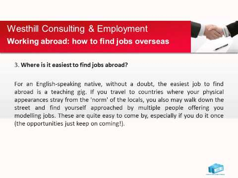 Working Abroad: How To Find Jobs Overseas Westhill Consulting & Employment