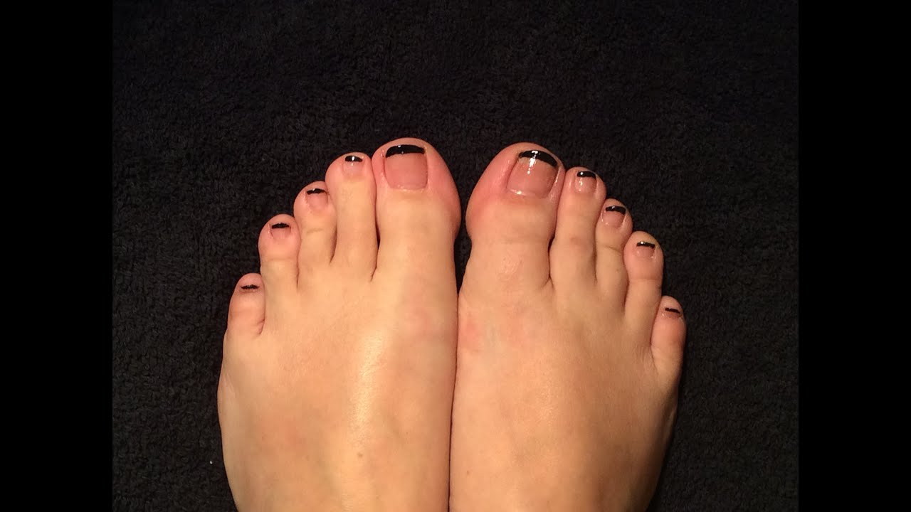 How to do: Black French Tip Toe Nails - YouTube