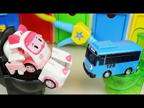 Thumbnail: Robocar Poli car toys ambulance Amber Tayo bus Toliet and Gas Station