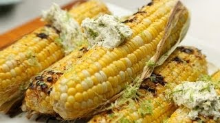 Grilled Chipotle Corn With Cilantro Lime Butter