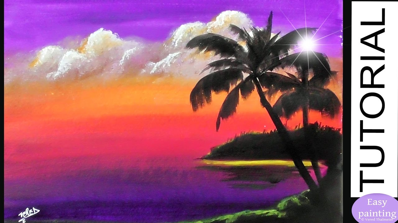 How To Paint CLOUDS At SUNSET PALM Trees Painting Tutorial Step By Purple Landscape