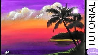 How to paint CLOUDS at SUNSET & PALM Trees. Painting Tutorial Step by Step Purple Landscape
